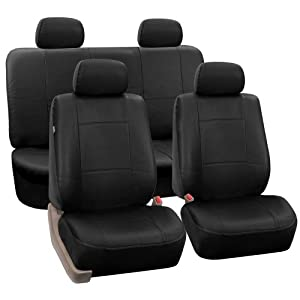 FH-PU001 PU Leather Car Seat Covers Solid Black Color