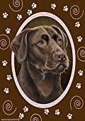 Chocolate Labrador Retriever Paw Prints Flag 12'' x 18