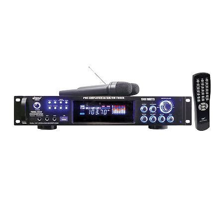 Pwma1003T 1000 Watts Hybrid Pre-Amplifier W/Am-Fm Tuner/Usb/Dual Wireless Mic