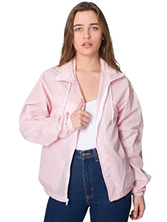American Apparel Women's Nylon Taffeta A-Way Jacket - Light Pink / White / S
