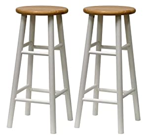 Winsome Wood S 2 Beveled Seat 30-Inch Bar Stools Nat Wht by Winsome