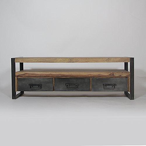 Mueble para televisor madera maciza y metal, 3 cajones 160 Industry RA9A