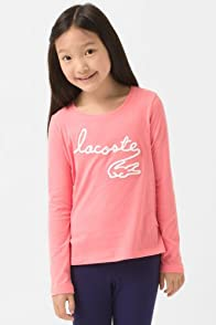 Girl's Long Sleeve T-Shirt with Flocked Lacoste and Croc