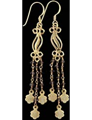 Exotic India Faceted Smoky Quartz With Gold Plated Earrings - Sterling Silver