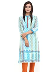 Missprint Light Blue And Rust Chanderi Embroided Kurta