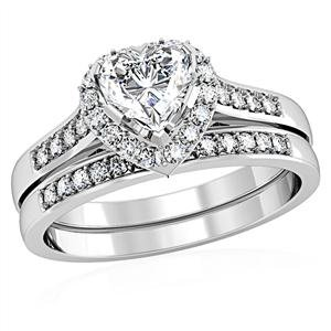 CZ WEDDING RINGS - Heart Shaped One Carat Engagement & Wedding Rings