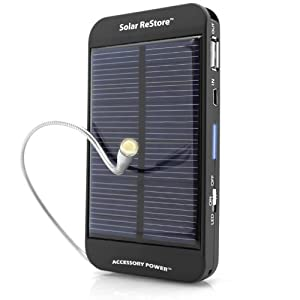 ReVIVE Series Solar ReStore External Battery Power Pack with Universal USB Charging Port for Portable E-readers , MP3 Players , Smartphones & More USB Powered Devices
