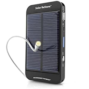 ReVIVE ReStore Solar Phone Charger & External Battery Pack with USB Charging Port - Works with Apple iPhone 6 , Samsung Galaxy S6 , HTC One M9 & More!