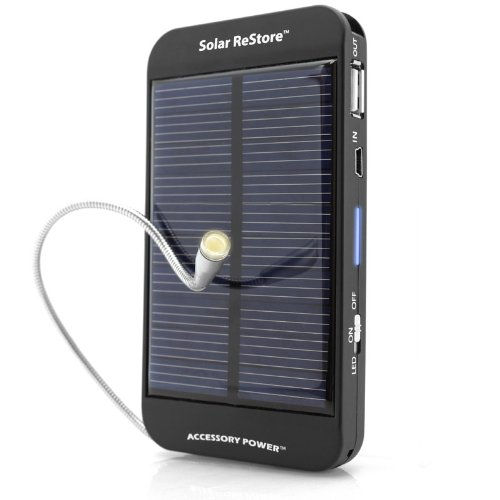 ReVIVE Series Solar ReStore External Battery Pack with Universal USB Charging Port for Portable E-readers , MP3 Players , Smartphones & More USB Powered Devices