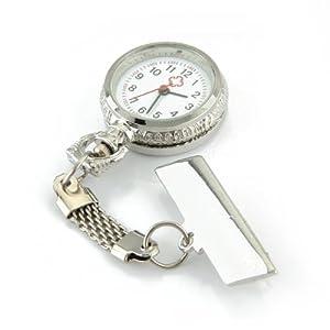 SODIAL(R) Reloj Tipo Enfermera Cuarzo Esfera Redondo con Broche Moda Retro por SODIAL(R)