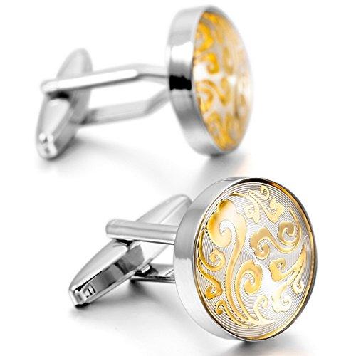MOWOM-Silver-Gold-2-PCS-Rhodium-Plated-Cufflinks-Clouds-Flower-Shirt-Wedding-Business