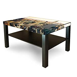 grande table basse d 39 appoint en bois avec motif new york city cuisine maison. Black Bedroom Furniture Sets. Home Design Ideas