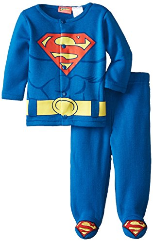 Warner Brothers Baby Baby-Boys Newborn Superman 2 Piece Jacket With Footed Pant Set, Blue, 6-9 Months front-689092