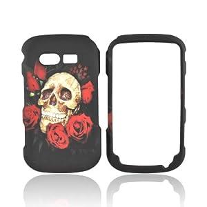Caper Case, [Skull and Roses on Black] Slim Grip Rubberized Hard Plastic Case for Pantech Caper (2011)