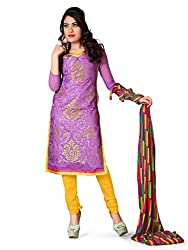 krizel Jasmine Purple Chanderi Unstitched Straight Salwar Suit Dress Material