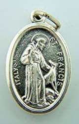 Saint St Francis Pet Medal & Saint St Anthony Doulbe Sided Medal Silver Tone 1