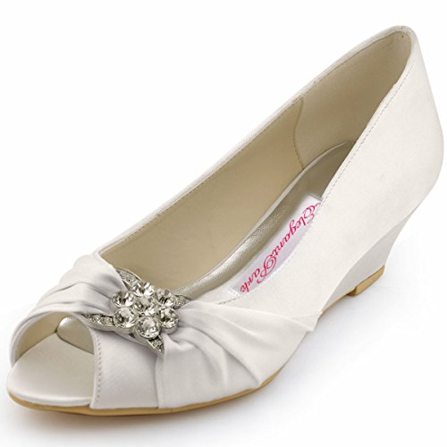 ElegantPark WP1403 Peep Toe Women's Pumps Rhinestones Mid Heel Wedges Knot Satin Wedding Bridal Shoes Ivory US 8