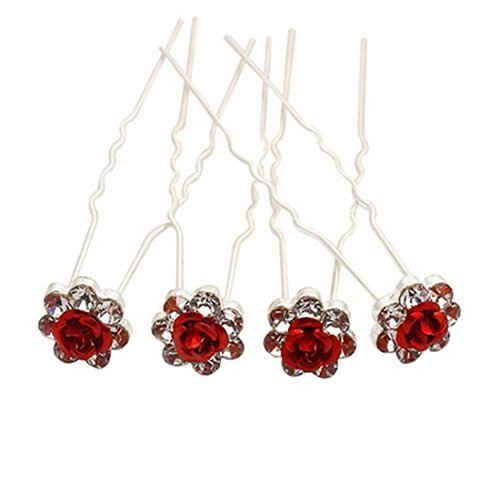 Rbenxia Bridal Wedding Crystal Hair Pins Bridal Prom Clips Pack of 20pcs Red