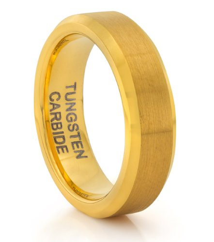 6MM Tungsten Carbide Brushed Gold Wedding Band Ring (Available Sizes 4-11 Including Half Sizes) (8)