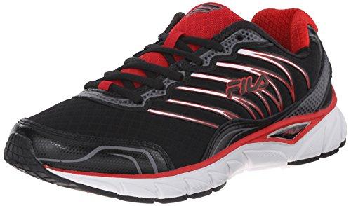 Fila Men's Countdown Running Shoe, Black/Fila Red/Dark Silver, 11 M US