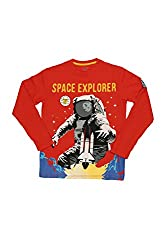 Poppers by Pantaloons Boy's Round Neck T-Shirt (205000005613335, Orange, 7-8 Years)