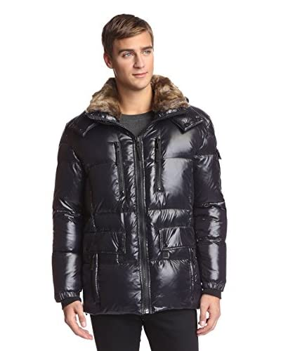 S13 Men's Ranger 31 Inch Quilted Down Jacket With Removable Faux Rabbit Collar