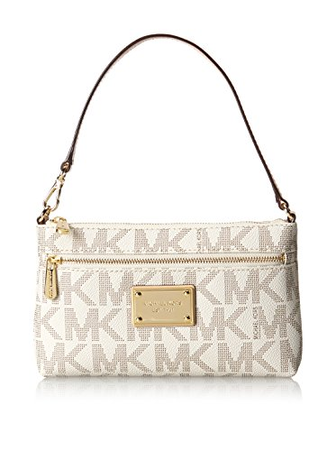 michael kors jet set large wristlet mk logo pvc vanilla 2016. Black Bedroom Furniture Sets. Home Design Ideas
