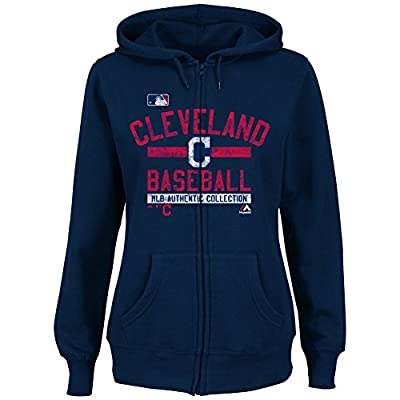 Cleveland Indians Womens Majestic Team Property Full Zip Hooded Fleece