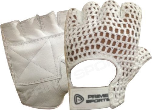 NET LEATHER FINGERLES GLOVE GYM TRAINING BUS DRIVING CYCLING GLOVES WHITE LEATHER-WHITE MESH CN-404 LARGE