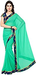 WXW Fashion Plain Light Green Georgette Saree with Blouse Piece