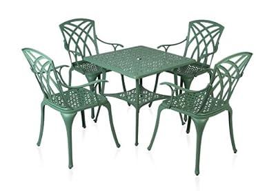"""Alium """"Washington"""" Cast Aluminium 4 Seater Square Garden Furniture Set"""