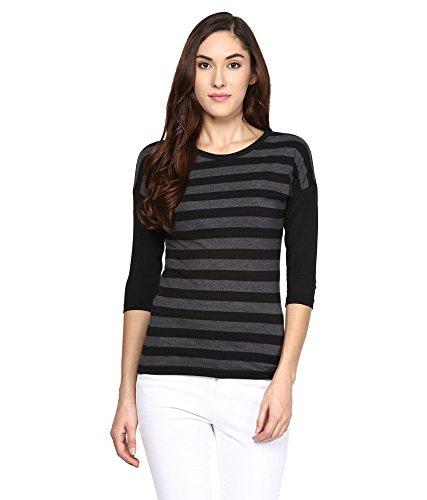 Hypernation-Black-and-Grey-Stripe-Round-Neck-Cotton-T-shirt