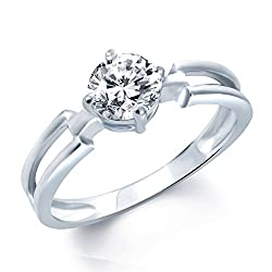 V. K. Jewels Fancy Two Lines Silver Rhodium Plated Solitare Ring For Women- Fr1027R Size 10 [Vkfr1027R10]