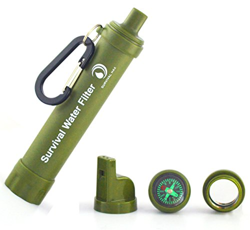 Survival Water Filter with Compass, Carabiner, Bottle Attachment, Mirror, Water Filter Straw, .1 Micron Purifier - Highest Filtration Available (Life Straws Water Filters compare prices)