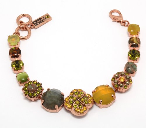 Israeli Amaro Jewelry Studio 'Genesis' Collection Bracelet with Flower Links, Crafted with Citrine, Labradorite, Striped Jasper, Gaspeite, Swarovski Crystals; 24K Rose Gold Plated