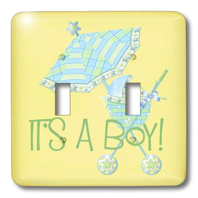 Lsp_45154_2 Tnmgraphics Children - Its A Boy Stroller And Umbrella - Light Switch Covers - Double Toggle Switch front-278469