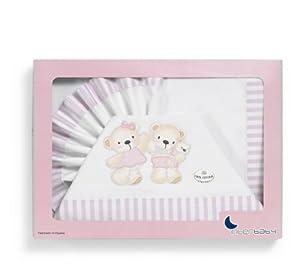 Interbaby Oso Globo - Juego de sábanas para minicuna, color blanco/rosa - BebeHogar.com