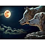 DIY 5D Diamond Painting by Number Kits, Crystal Rhinestone Diamond Embroidery Paintings Pictures Arts Craft for Home Wall Decor (Wolf) (Color: Wolf, Tamaño: 12x16inch)