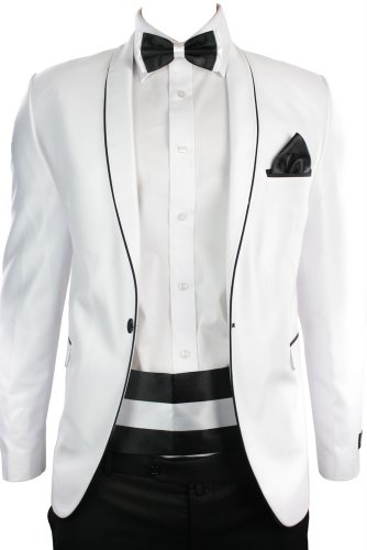Mens Slim Fit Dinner Suit Wedding Party White & Black Trim 4 Piece