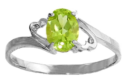 .925 Sterling Silver Promise Ring with Genuine Oval Peridot