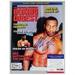 マイク・タイソンのボクシング・ダイジェスト誌# m53924 psa dna認定のサイン入りのボクシング雑誌署名