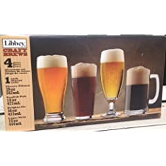 Libbey Craft Brew Sampler Clear Beer Glass Set 4 PC set - Classic Pilsner (19oz) English... by Libbey