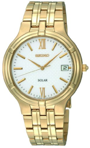 Seiko Men's Quartz Analogue Watch SNE030P1 with Gold Plated Solar Bracelet and White Dial