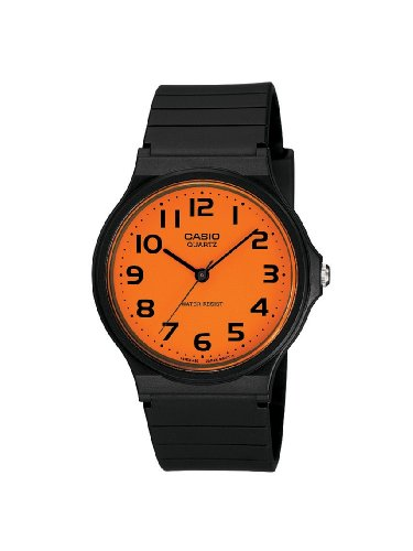 Casio Mens Watch MQ-24CC-4B2EF with Orange Analogue and Black Resin Strap
