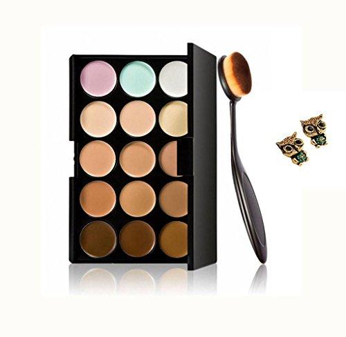 Maolanku Cosmetico di Trucco Fard Spazzolino Curve Pennello Foundation + 15 Colori Concealer