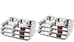 King International Stainless Steel Navtratri Plate,Kanjak Plate Five Compartment Dinner Plate 37 cm Set of 6 pcs