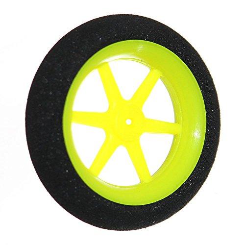 2x-Modellbau-Speichen-Rad-30-40-50mm-Komplettrad-Felge-Neongrn-Reifen-Schwarz-Auto-Motorrad-Flugzeug-Modell-Neu-Joy-Button-50x12