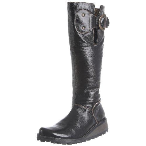 Fly London Women's Moly Black Leather Patent Flat P210628011 6 UK