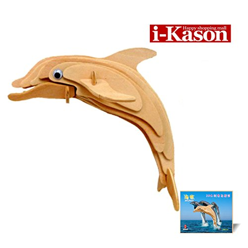 Authentic High Quality i-Kason® New Favorable Imaginative DIY 3D Simulation Model Wooden Puzzle Kit for Children and Adults Artistic Wooden Toys for Children - Dolphins - 1