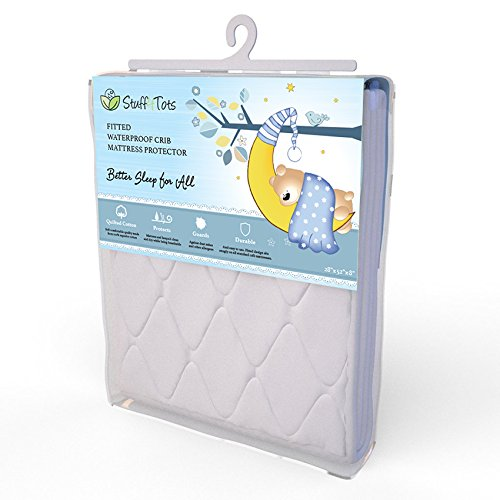 "Waterproof Crib Mattress Protector. Super-Soft Quilted Cotton Cover Pad for Baby Mattresses. Breathable. Hypoallergenic. Fitted Cover Sheet Keeps Mattress Clean, Dry and Free of Dust Mites and Allergens. 52x28"". 100% Money Back Guarantee"